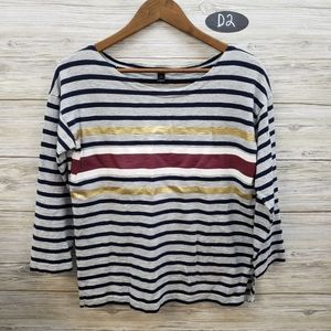 J Crew Gray Maroon Gold Striped Blouse